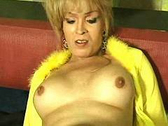 Mature transsexual in stocking ass drilling man