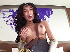 After fucking I lie back as Mos stands in front of me holding her sword in one hand and her cock in the other. She chooses to go with her cock and drops the sword. She moves in between my legs and sucks and rims away at my cock and ass. Mos oils up my ass