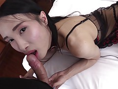 Pooh comes with a satisfaction guarantee! Her donkey dick is always hard and ready for a good fuck. In this lengthy LadyboyGold episode you can enjoy all her horny sex acts, starting with a innocent eye contact blowjob to hardcore bareback fucking with a