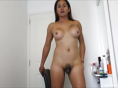 Looktom is a curvy LB with a small cock filled with hot cum! Watch as Looktom puts on makeup, then takes off her tight blue miniskirt and panties. Looktom makes her petite dick-clit erect, fondling her shaft and horny asshole. Looktom strokes herself unti