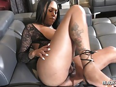 Our September Model of the Month, gorgeous Tish, returns for some more! High heels, sexy black lingerie... Tish looks smoking hot in this one! She can`t wait to strip down and have some fun! Watch this Texan bombshell stroking her cock for you until she c