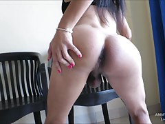 Ammy is a cute femboy with a hairy cock. Ammy likes to dress up in slutty dresses to get attention from guys. Natural tits and a tight body are on display as Ammy jerks off her girl cock to a cum finish.