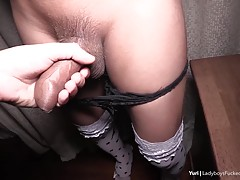 Yuri`s fucked missionary and it doesn`t take long for the POV guy to spurt. Looking down at Yuri makes the POV guy start to grow hard again. Yuri jerks off the cock and her own until she cums. The POV guy is horny again and Yuri uses her small hands to ge