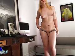 Fresh faced Ashlee Nova is a sexy newcomer with a hot curvy body, natural breasts, long blonde hair, a juicy ass and a sexy uncut cock! See this sexy tgirl stripping and stroking her hard cock!