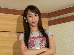 Brunette ladyboy showed her young body and jerked